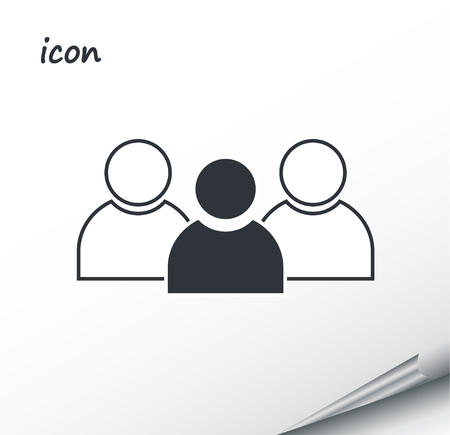 Vector icon group of people on a wrapped silver sheet Ilustração
