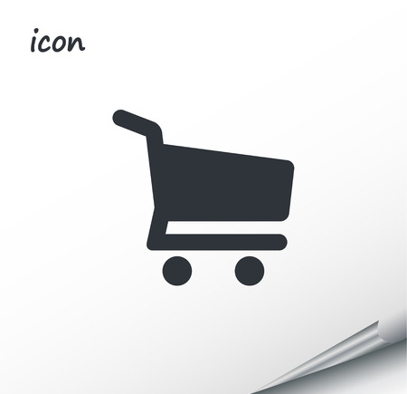 vector icon shopping cart on a wrapped silver sheet EPS
