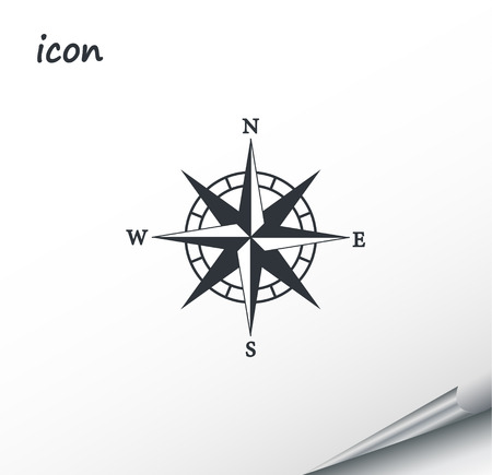 Vector compass icon on a wrapped silver sheet EPS