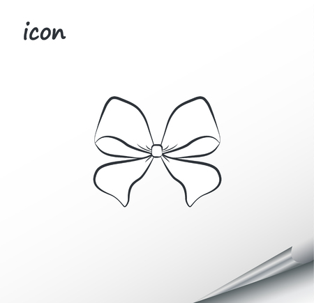 Vector icon bow on a wrapped silver sheet Vectores