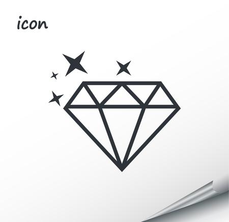 Vector icon diamond on a wrapped silver sheet EPS