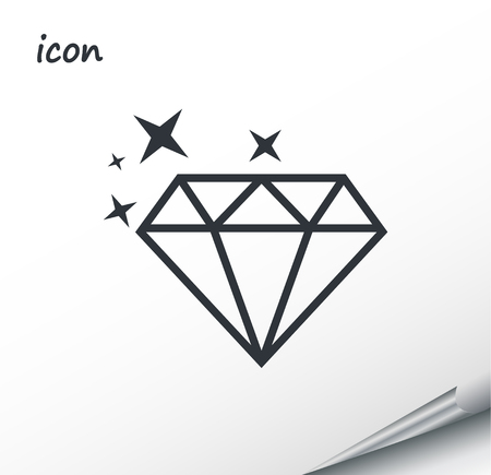 Vector icon diamond on a wrapped silver sheet EPS