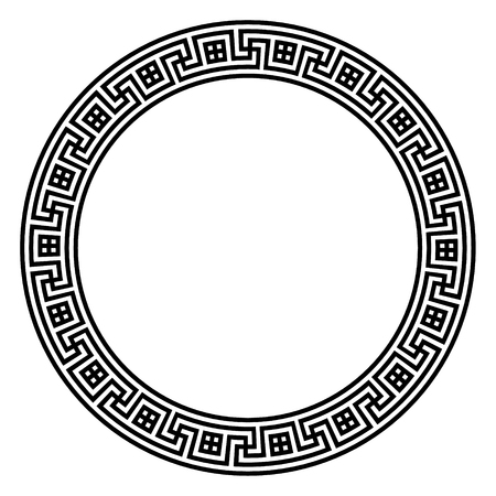 Circular vector Greek ornament illustration, national antique round pattern.