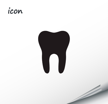 Vector icon tooth on a wrapped silver sheet EPS.