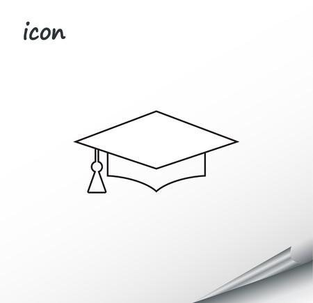 Vector icon graduation cap on a wrapped silver sheet EPS. Ilustração