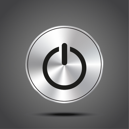 Vector icon Power metallic isolated on dark background