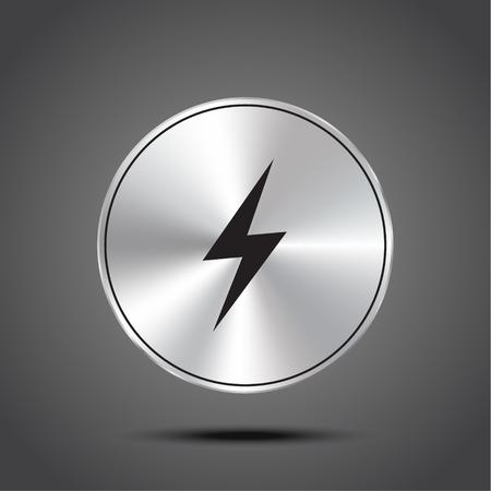 Vector icon lightning metallic isolated on dark background.
