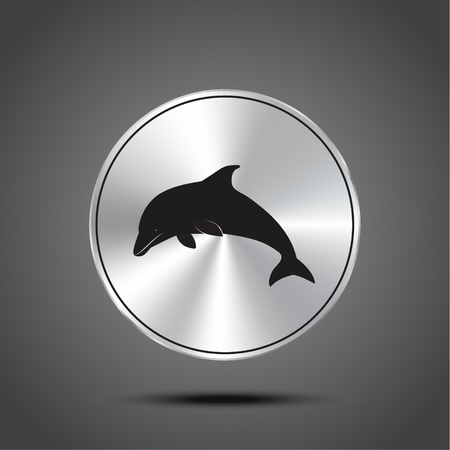 Vector icon dolphin metallic isolated on dark background Ilustração