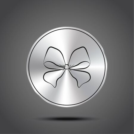 Vector icon bow metallic isolated on dark background 矢量图像