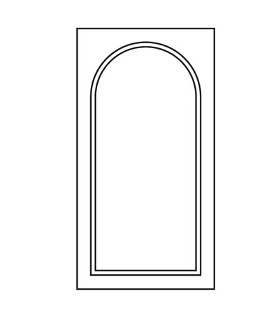 Old door icon, isolated illustration vector. Close up wooden door with simple design eps Stock Illustratie