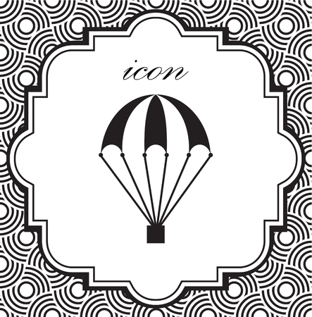 Vector icon of a parachute on a geometric background  イラスト・ベクター素材