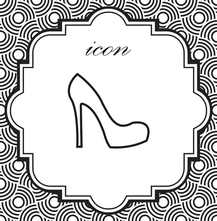 Vector icon female shoes on a geometric background of eps