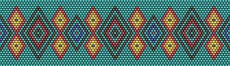 Trendy, modern ethnic beaded, border, pattern, embroidery cross diamonds stripe Vettoriali
