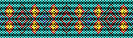 Trendy, modern ethnic beaded, border, pattern, embroidery cross diamonds stripe Illustration