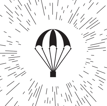 Vector icon of a parachute against the background of the rays