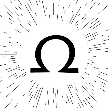 A Vector omega sign against the background of the rays