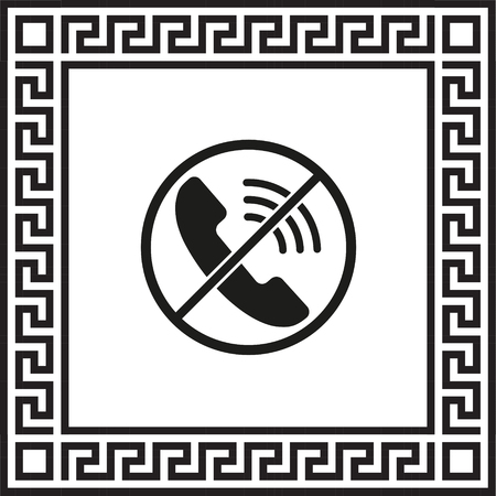 Vector icon no phone framed with Greek ornament