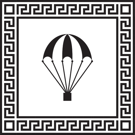 Vector icon of a parachute ramed with Greek ornament  イラスト・ベクター素材