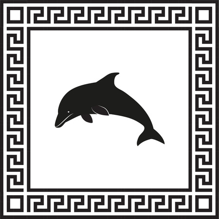 Vector icon dolphin in a frame with a Greek ornament Ilustração