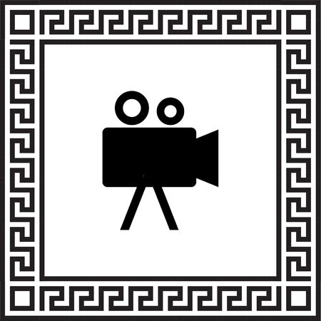 vector icon Camcorder in a frame with a Greek ornament