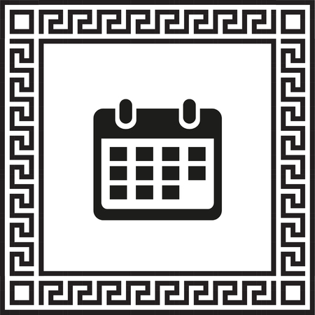 Vector icon calendar framed with Greek ornament