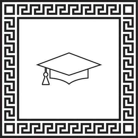 vector icon graduation cap in a frame with a Greek ornament