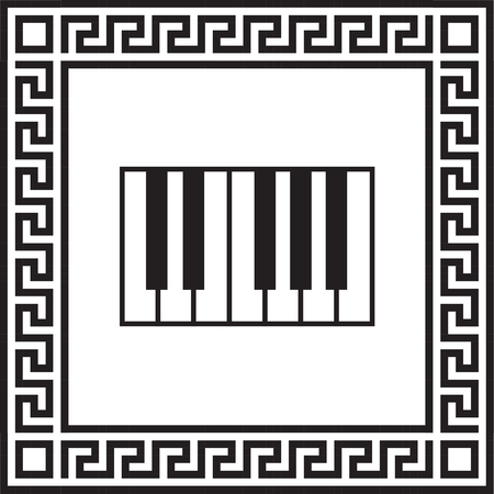 Vector piano icon in a frame with a Greek ornament Illustration