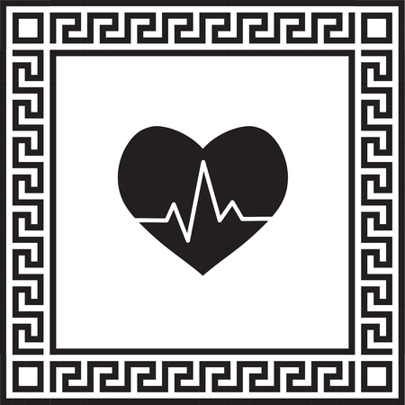 Vector icon cardiogram in a frame with a Greek ornament