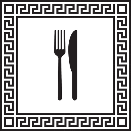 Vector icon fork with a knife in a frame with a Greek ornament Illustration