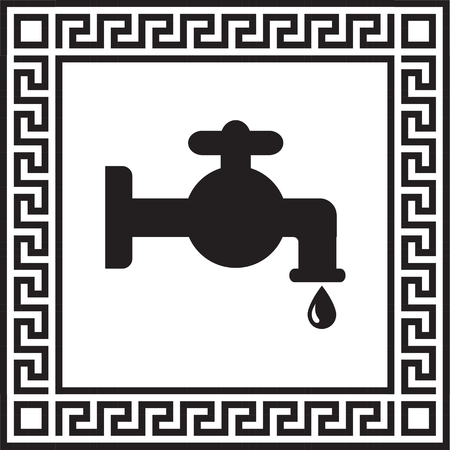 Vector icon water faucet in a frame with a Greek ornament Illustration