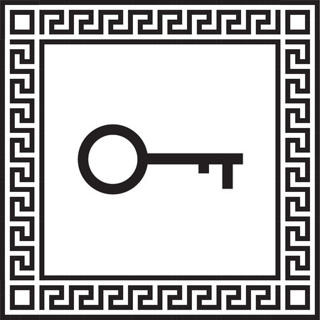 Vector icon keys in a frame with a Greek ornament