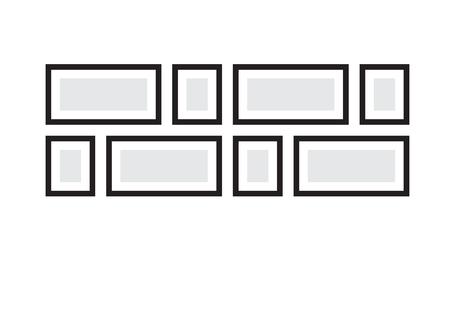 Picture frames. Photoframes mockup, Vector frames photo collage