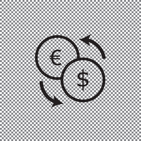 Currency exchange outline icon black color isolated on white background on a transparent background