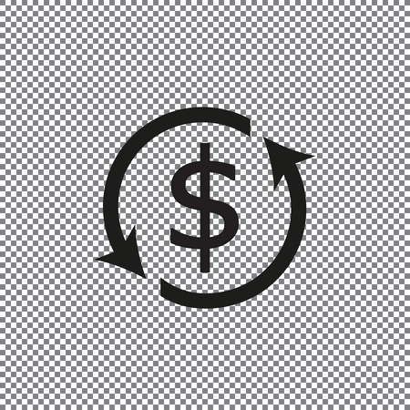 Currency exchange outline icon black color isolated on white background on a transparent background Reklamní fotografie - 103361661
