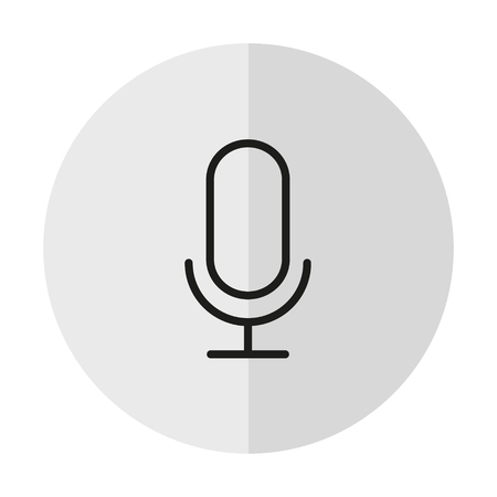 vector icon microphone on a background with a vertical shadow
