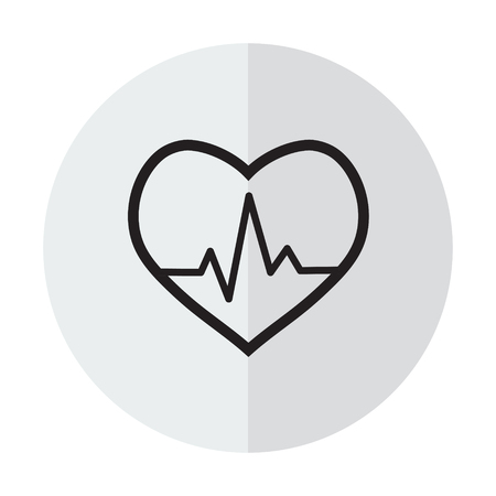 Vector icon cardiogram on a background with a vertical shadow