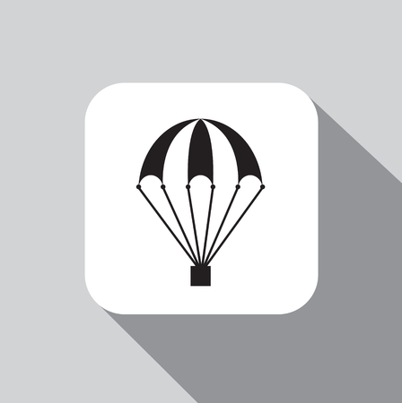 Vector icon of a parachute on a background with a shadow Ilustração