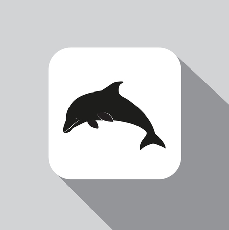 icon dolphin on a background with a shadow