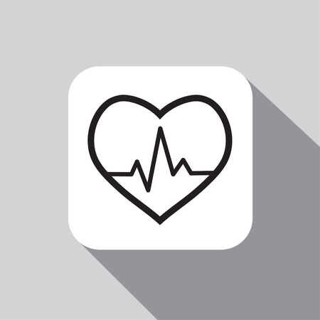 Vector icon cardiogram on a background with a shadow