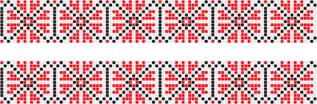 Embroidered good like handmade cross-stitch ethnic Ukraine pattern. Towel with ornament, called rushnyk in vector EPS Ilustração