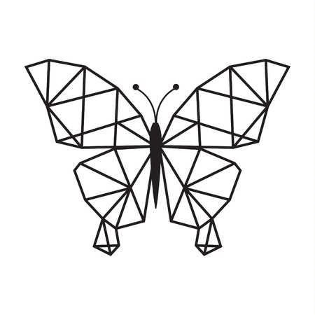 LOW POLY LOGO ICON SYMBOL TRIANGLE BUTTERFLY GEOMETRIC POLYGONAL  イラスト・ベクター素材