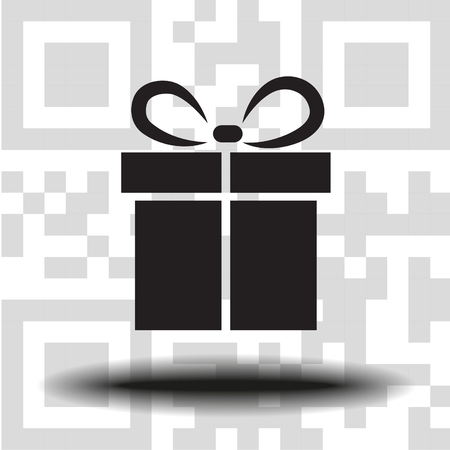 Vector gift icon the background QR code