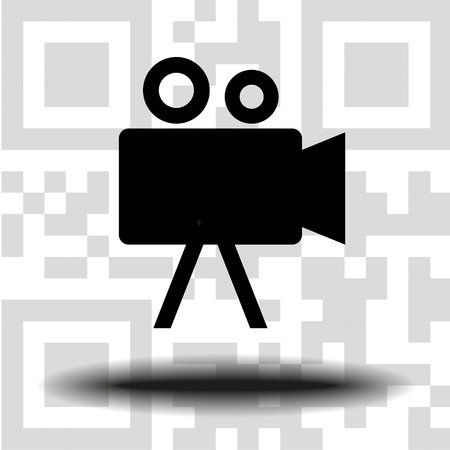 vector icon Camcorder the background QR code Illustration