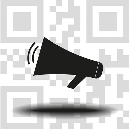 vector icon loudspeaker the background QR code