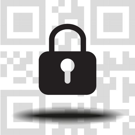 Lock icon vector the background QR code