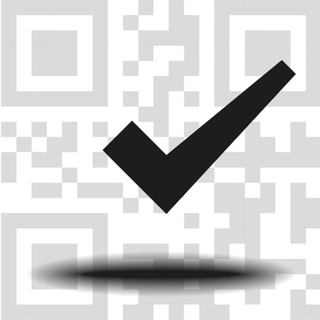 vector icon check mark the background QR code 向量圖像
