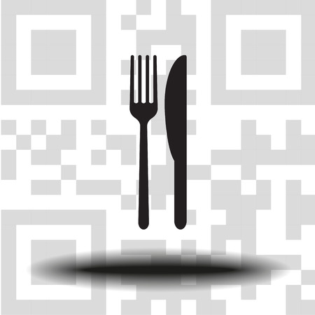Vector icon fork with a knife the background QR code