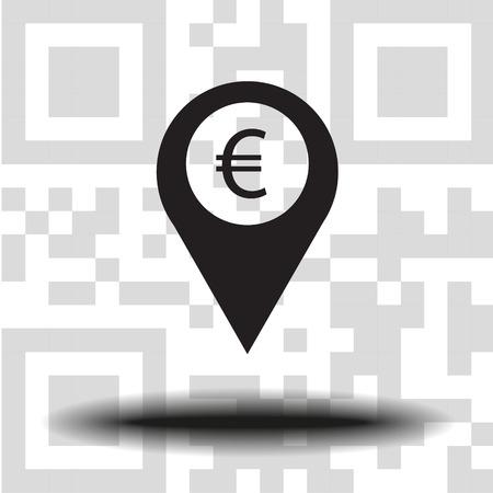 Vector icon marker location icon Euro the background QR code