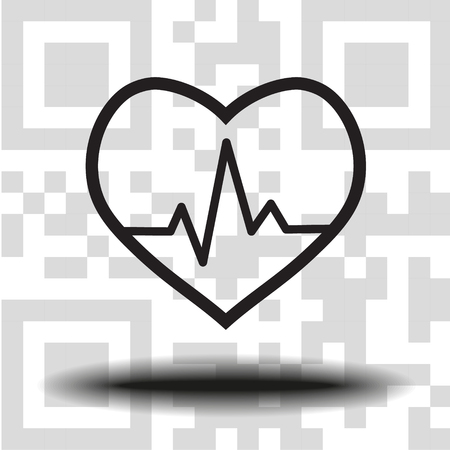 Vector icon cardiogram the background QR code