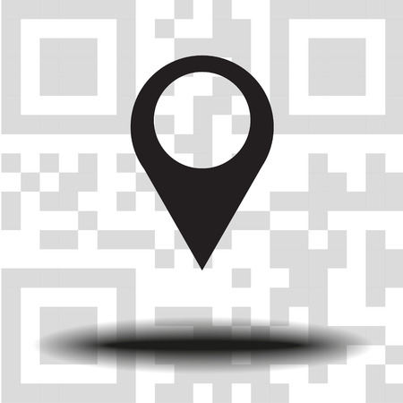 Vector icon map Icons markers. the background QR code Illustration